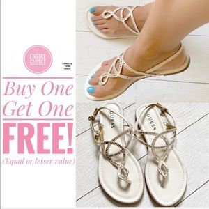 New Guess White Embellished Sandals with Stones
